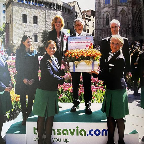 Barcelona tulip donation Transavia