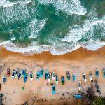 Vista aérea de una playa de Sri Lanka